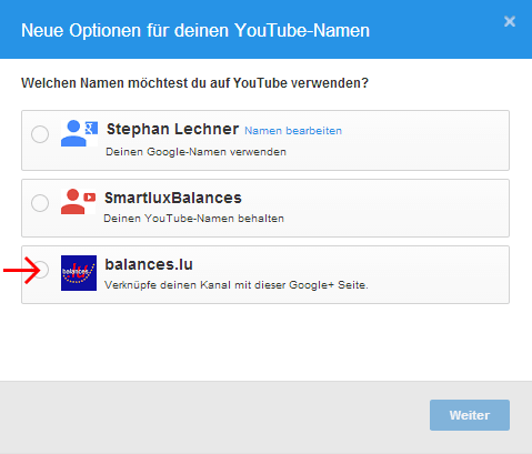 Select new name for your YouTube channel