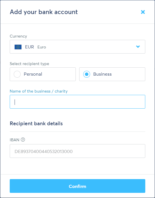 Transferwise add EUR account