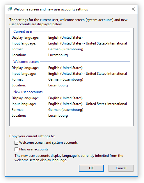 windows welcome screen and user account settings monolingual
