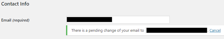 WordPress pending email change