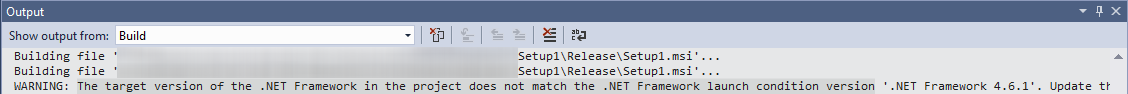 The target version of the .NET framework in the project does not match the NET framework launch condition version...