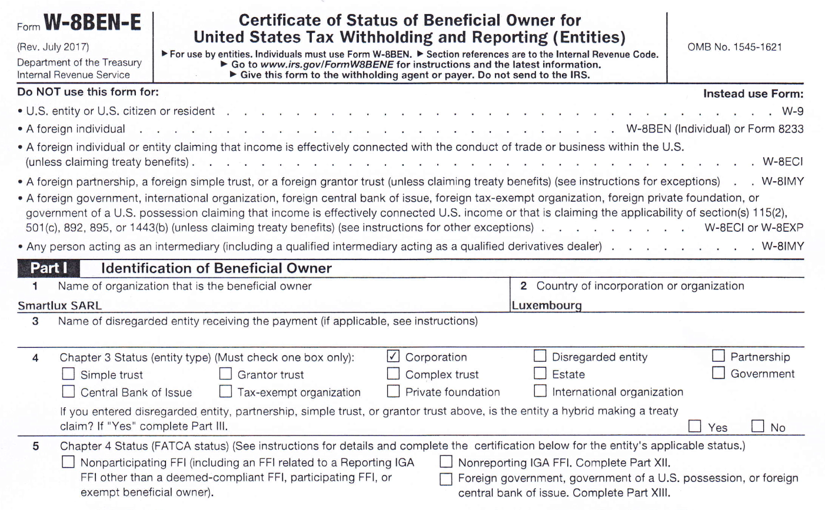 Thoughts on Form W-8BEN-E for companies selling software licenses