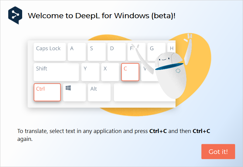 DeepL for Windows welcome screen